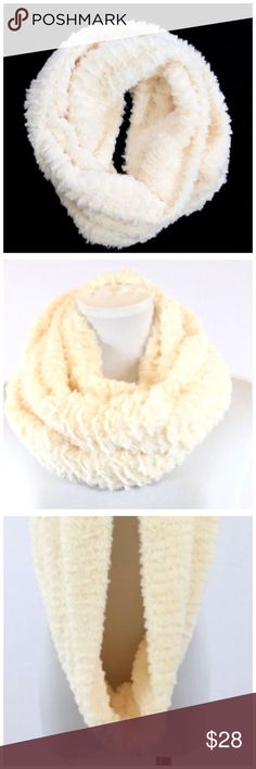 """B7 Ivory Super Soft Faux Fur Plush Infinity Scarf ‼️ PRICE FIRM UNLESS BUNDLED WITH OTHER ITEMS FROM MY CLOSET ‼️    Faux Fur Scarf  Retail $67  This scarf is so unbelievably soft and warm you will never want to take it off.  Faux fur.  100% polyester.  10"""" wide, 30"""" long.  Please check my closet for thousands more items including jewelry, shoes, handbags designer clothing & more! Accessories Scarves & Wraps"""