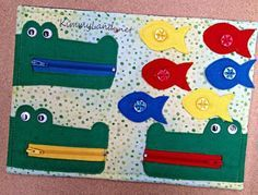 Items similar to Hungry Crocs Edumat. Educational Toy / Activity for Boys and girls.Buttoning, colours and zips. Not quite a quiet book! Baby quiet book 10 pages Montessori fine motor skills toys Diy Quiet Books, Baby Quiet Book, Felt Quiet Books, Activities For Boys, Book Activities, Crafts For Kids, Sensory Book, Baby Sensory, Quiet Book Patterns