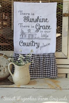"""Items similar to Flour Sack Kitchen Towel. Farmhouse Cottage Chic Southern Saying Country Style Ruffles """"Our Country Place"""" on Etsy Kitchen Towels, Diy Kitchen, Kitchen Decor, Kitchen Tips, Kitchen Gadgets, Kitchen Ideas, Magnolia Farms, Sweet Magnolia, Dish Towels"""