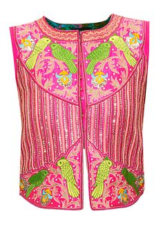 Pink bird embroidered jacket by Surbhi Arya. Choli Designs, Blouse Designs, Indian Attire, Indian Wear, Indian Dresses, Indian Outfits, Sari Dress, Indian Blouse, Embroidered Jacket