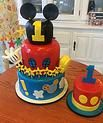 3D Mickey Mouse Club House & Handy Helper 3 tier cake & smash cake #peridotsweets