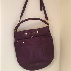 """Marc by MarcJacobs Preppy Leather Hillier Hobo Bag Marc by Marc Jacobs Preppy Leather Hillier Hobo Shoulder Bag Amethyst Purple ... Leather Purse, dust bag included, Approx. 14 1/4"""" x 14"""" x 3 1/4. Approx. 5 1/2"""" handle drop. Adjustable long strap for shoulder or cross body wear. Magnetic closure . Interior zip, cell phone, and multifunction pockets. Exterior front, slip pocket, and 2 side pockets. Fabric lining. Gold tone hardware Marc by Marc Jacobs Bags Hobos"""