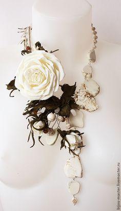 Купить МОРОЖЕНОЕ ПЛОМБИР - комплект - белый, айвори, роза айвори, колье с розой, белое колье