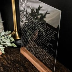 Custom wedding vows engraved on acrylic vows display 2 engraved acrylic signs with wedding vows. Barn Wood Signs, Relationship Gifts, Simple Weddings, Marry Me, Wedding Ceremony, Dream Wedding, Display, Master Bedroom, Base