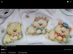 Pintura Country, Fabric Painting, Linen Bedding, Diy And Crafts, Teddy Bear, Drawings, Animals, Fabric Crafts, Bear Paintings