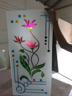 Important Etched Glass Door, Stained Glass Paint, Glass Front Door, Stained Glass Designs, Glass Partition Designs, Window Glass Design, Glass Etching Designs, Glass Painting Designs, Pooja Room Door Design