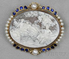 18kt Gold, Shell Cameo, and Cultured Pearl Brooch