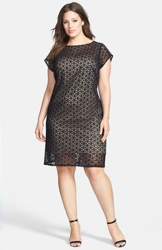 Adrianna Papell Sheer Floral Lace Sheath Dress (Plus Size) available at #Nordstrom