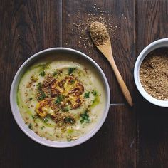 Puréed Roasted #Cauliflower & #Parsnip #Soup w/ #Homemade Broth - the best winter soup ever! Topped with parsley oil and hazelnut #dukkah! http://instagram.com/p/wHLo9XK8kP/  (Link to recipe http://www.feedfeed.info/list/post/id/152144)  Shared with us by Aubrey, @drumbeets, the editor of our Sumac, Dukkah and Za'atar feed!!!  #feedfeed