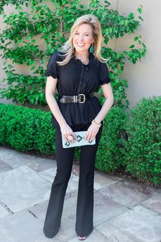 How To Wear Black In Spring -with neutrals and something in the green family
