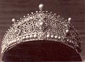 """The """"lost tiara"""" that Princess Alice wore to King Edward VII's wedding.   This tiara is made by Köchert, called the """"Byzantine"""" diadem, with its harmonious juxtapositions of diamonds and pearls, was judged impeccable and won for Köchert the first prize for jewellery at the World Exhibition in 1873."""
