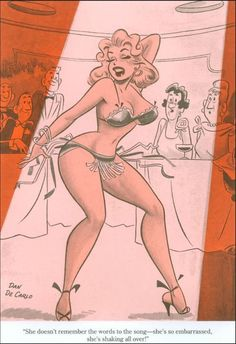 DAN DeCARLO - She doesn't remember the words to the song - she's so embarrassed, she's shaking all over! - item by the bristolboard.tumblr Pop Art Vintage, Vintage Cartoon, Vintage Comics, Vintage Images, Comic Book Artists, Comic Artist, Comic Books, Pin Up Cartoons, Sexy Cartoons