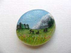 Miniature painting on sea glass