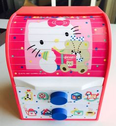 Vintage Sanrio Hello kitty Chest W Drawers Case/box 1976 1987