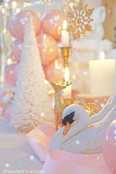 Shabby Chic Christmas, Pink Christmas, Pink And Gold, Blush Pink, Pop Up, Happy Holidays, Birthday Candles, Snow Globes, Candle Holders