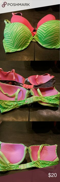 Victoria's Secret PINK Bras Bundle!!! 34C 1 Wear Everywhere Demi Pink and 1 Wear Everywhere Push-up Green Print PINK Victoria's Secret Intimates & Sleepwear Bras