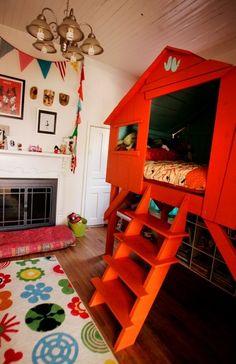 chambre, décoration, enfant, arbre, cabane, coloré