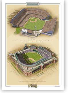 Both Colorado Rockies ballparks in one vertical print. Includes Mile High Stadium (which began its life as a single decked minor league ballpark) in the last years of its multi purpose life and the wonderful new Coors Field. For information on how the prints are made and their lightfastness, check the about page.
