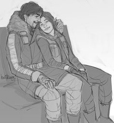 moromali said: How about Jyn and Cassian enjoying a break/some quiet time between missions? reystars said: Can I request Cassian playing with Jyn's hair? mrsweaty said: How about cassian looking warm and cosey in his poofy jacket? Maybe actually...