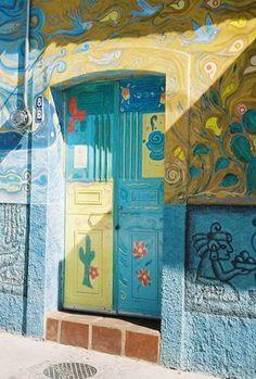 Ajijic Painted Door. Ajijic, on Lake Chapala, State of Jalisco