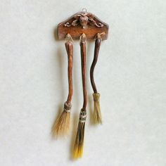 D/house Miniature Rustic Broom Wall Rack 1/12th H/made ~Lory~ Witch / Wizard