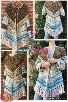 ВЯЗАНИЕ Crochet Poncho Patterns, Crochet Shawls And Wraps, Crochet Jacket, Crochet Scarves, Crochet Clothes, Crochet Stitches, Crochet Circles, Crochet Fashion, Beautiful Crochet