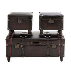 3-Piece Hampton Leather Trunk Set | Joss & Main