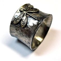 Enchanted Dragonfly - wide band ring in sterling silver and brass   ...from Lavender Cottage Jewelry