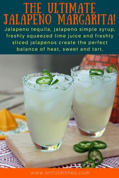 This is the ultimate jalapeno margarita recipe! Jalapeno tequila, jalapeno simple syrup, freshly squeezed lime juice and freshly sliced jalapenos. www.artfuldishes.com via @https://www.pinterest.com/artfuldishes/