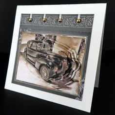 Vintage car card with shaped layers on Craftsuprint designed by Angela Wake - made by Ulla Skraedderdal -