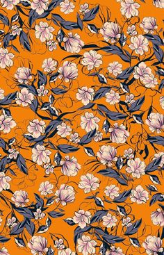 Hibiscus pattern by smileysunday - Hand illustrated floral pattern in orange and mauve on a teal background on fabric, wallpaper, and gift wrap. Bold floral pattern by indie pattern designer smileysunday. Screen Wallpaper, Cool Wallpaper, Wallpaper Backgrounds, Fabric Wallpaper, Floral Pattern Wallpaper, Flower Wallpaper, Surface Pattern Design, Pattern Art, Textile Pattern Design