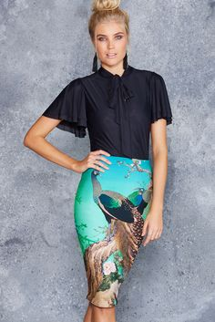 Peacocks In Spring Midi Pencil Skirt ($65AUD) by BlackMilk Clothing