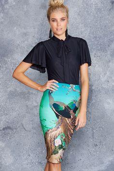 Peacocks In Spring Midi Pencil Skirt ($65AUD) by BlackMilk Clothing