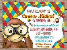 Curious George Birthday Invitation Curious by PlayOnWordsArt