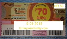 Nirmal Lottery Result 9-03-2018 Lottery Result Today, Lottery Results, Lottery Drawing, State Lottery