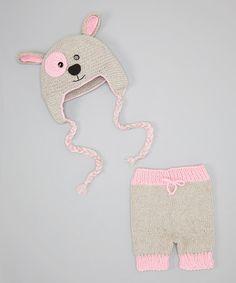 Look what I found on #zulily! Gray & Pink Pants & Puppy Dog Beanie #zulilyfinds