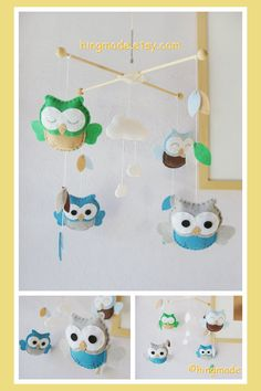 Baby Mobile - Owl Mobile - Felt Mobile - Deep Peacock Blue Green Gray Owls in clouds and leaves