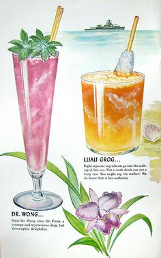 A collection of vintage tiki-themed menus/cocktail menus