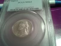 1969-S Jefferson Nickel PCGS MS-64, plus a free PCGS MS-64 Jefferson of our choice of dates!!