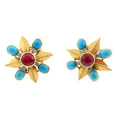 18K yellow gold earrings in the classic 1950s combination of diamonds, turquoise and ruby.  Twentieth Century.