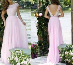 Elegant Prom Gown,Pink Prom Gown,Lace Prom Gown,Cap Sleeve Prom Gown,2015 Prom Gown,Long Prom Dress,Backless Prom Dress,Evening Dress HG 715