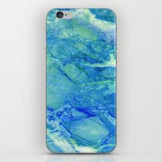 Vibrant Pastel Blue Crystal Pattern Printed Phone Case for iPhone. Design by Santo Sagese Abstract, Organic, Ocean, Bright Blue, Teal, Stone, Cute, Marble