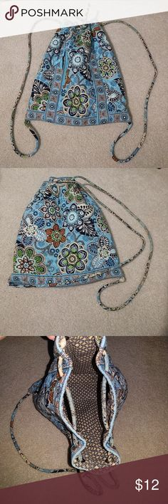 Vera Bradley small drawstring backpack Gently used drawstring Vera Bradley backpack. Has a small zippered pocket on the front. In good condition. Has some signs of wear. Vera Bradley Bags Backpacks