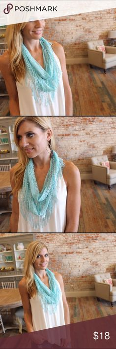 """Mint lace fringe infinity scarf Pretty lightweight infinity scarf. 100% polyester. Total circumference 62"""". Shown doubled up. Add to bundle to save when purchasing two or more items from my closet. OS426005 Accessories Scarves & Wraps"""