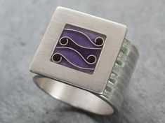 Ring in Purple Enamel Cloisonne and Sterling Silver