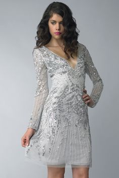 Today I have put together a wide range of silver cocktail dress with sleeves! Today I have brought in silver cocktail dress with sleeves. Silver Cocktail Dress, Cocktail Dresses With Sleeves, Dress Stand, Nice Dresses, Formal Dresses, Fashion Company, Designer Dresses, Party Dress, Sequins