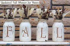 Changed up my Fall Mason Jar Vases and gave them a new refreshing look! Get this same look with some mason jars, chalk paint, corn husks and some floral accents! Perfect decor for fall! #masonjars #masonjarcrafts #chalkpaint
