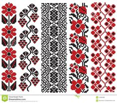 There Is A Scheme Of Ukrainian Pattern For Embroidery Royalty Free Cliparts, Vectors, And Stock Illustration. Folk Embroidery, Cross Stitch Embroidery, Embroidery Patterns, Cross Stitch Borders, Cross Stitching, Cross Stitch Patterns, Free Cliparts, Broderie Simple, Palestinian Embroidery