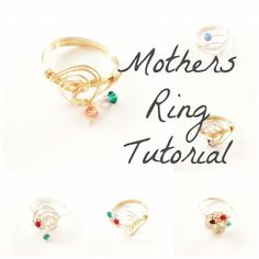 Mother's Day Ring Tutorial Make Your Own Jewelry, Jewelry Making, Bead Crafts, Jewelry Crafts, Beaded Jewelry, Handmade Jewelry, Jewellery, Mothers Day Rings, Ring Tutorial