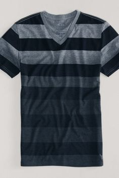 AEO Ombre Stripe V-Neck Tee, Men's, Size: 3XL, True Black